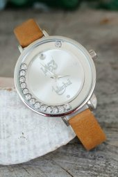 Istanbul 1453 Tasarımlı Kahverengi Deri Kordonlu Bayan Saat