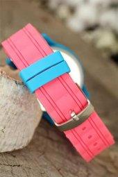 Mercan Renk Silikon Kordonlu Kabartlamalı İç Tasarımlı Mavi Spor Kasa Bayan Kol Saati-2