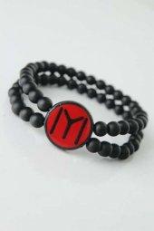 Bordo Renkli Metal Üzerine Siyah Kayı Boyu Figürlü Siyah Renk Çift Sıra Doğal Taş Erkek Bileklik