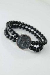 Füme Renkli Metal Üzerine Füme Kayı Boyu Figürlü Siyah Renk Çift Sıra Doğal Taş Erkek Bileklik