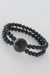 Kahverengi Metal Üzerine Siyah Osmanlı Tuğra Figürlü Siyah Renk Çift Sıra Doğal Taş Erkek Bileklik