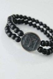 Füme Renkli Metal Üzerine Füme Kayı Boyu Figürlü Siyah Renk Çift Sıra Doğal Taş Erkek Bileklik-2