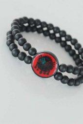 Kırmızı Renkli Metal Üzerine Osmanlı Arma Figürlü Siyah Renk Çift Sıra Doğal Taş Erkek Bileklik-2