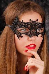 Siyah Renk Dantel Yarasa Figürlü Bayan Maske