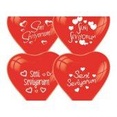 Tvet Seni Seviyorum Yazılı 40lı Kalp Balon