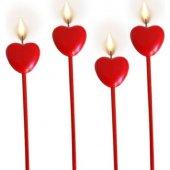 4 Adet Kırmızı Uzun Çubuklu Kalpli Pasta Mumu