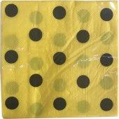 20 Adet Sarı Siyah Puantiyeli Peçete Arı Maya