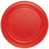 Partibulutu Kırmızı Plastik Tabak 22 Cm 25li