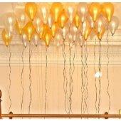 25 Adet Metalik (Gold Altın Sarısı Beyaz) Balon Helyumla Uçan