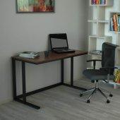 Tekli Desk Çalışma Masası - Mat Siyah Ayak Ceviz Kaplama-2