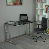 Tekli Desk Çalışma Masası - Parlak Paslanmaz Ayak Füme Cam-2