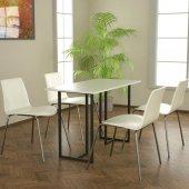 Potrica Yemek Masası - Siyah Ayak Beyaz Lake Tabla