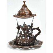 Osmanlı Motifli ÇAY Seti 6 lı Çay bardağı bakır, gümüş ve altın h-3