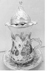 Osmanlı Motifli ÇAY Seti 6 lı Çay bardağı bakır, gümüş ve altın h