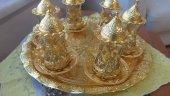 Osmanlı Motifli ÇAY Seti 6 lı Çay bardağı bakır, gümüş ve altın h-4