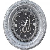 Ayetli Lafızlı Taşlı Lüks Duvar Saati 32x37 cm-2