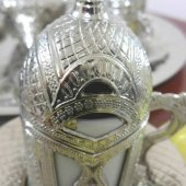 Lale Motifli Gümüş Kahve Fincan Takımı Lale Desenli 6lı Set-2