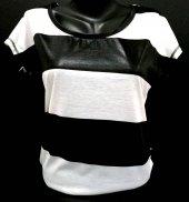 Siyah Beyaz Renkli Omuzları Fermuarlı Bayan T Shırt Kod 288