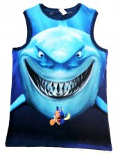 Köpek Balığı Desenli Mavi T Shırt Kod 049