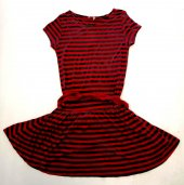 Kırmızı Siyah Çizgili Elbise Kod 043