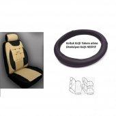 Volkswagen Polo Classic Uyumlu Oto Koltuk Kılıf Takımı Bej Ön / Arka Set Direksiyon Kılıfı Hediye