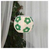 ıkea Ledli Güneş Enerjili Sarkıt Lamba Çiçekli Yeşil Beyaz