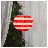 ıkea Ledli Güneş Enerjili Sarkıt Lamba, Çizgili Kırmızı Beyaz