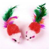 Tüylü Kedi Oyuncağı İkili Fare Kırmızı Renkli...