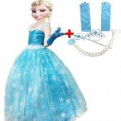 Kostüm - Frozen Elsa Tüylü Askılıklı Süper Çocuk Kostümü