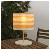 ıkea Ledli Güneş Enerjili Masa Lambası, Çizgili Sarı Beyaz