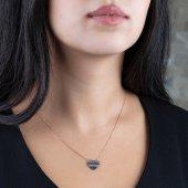 Renkli Zirkon Taşlı Kalp Tasarım 925 Ayar Gümüş Bayan Kolye-3