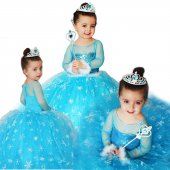 Kız Çocuk Kostümü - Tarlatanlı Frozen  Simli Kostum - Uzun Kollu
