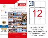 Tanex 63,5x72mm Laser Etiket 100lü (Tw 2012)