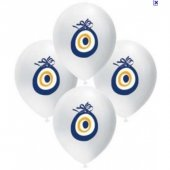 balonevi nazar boncuklu beyaz balon 25 adet