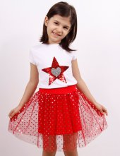 Kız Çocuk Simli Etekli Takım Pullu Kalp Nakışlı