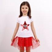 Kız Çocuk Simli Etekli Takım Pullu Kalp Nakışlı-2