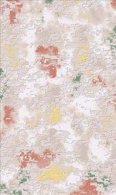 Beyaz Vizon Pudra Yeşil Modern Oturma Odası Halısı Hs91455c