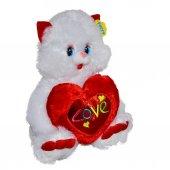 07709 Sun Abc Pff Peluş Kedi Oturan Love Kalp Yastık