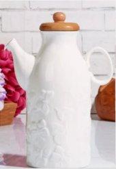 Bambu Kapaklı Lüx Porselen Yuvarlak 1lt Sütlük...