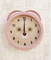Metal Pembe Renkli Kulaklı Ayıcıklı Saat