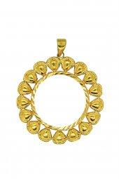 Cigold 22 Ayar Altın Taşsız Tuğralı Kolye Ucu K1uc03880002042