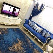 Rugrita Mavi Renkli Eskitme Tarz Salon Halısı Kaydırmaz Taban