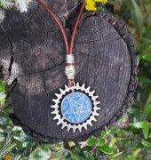 Pentagram Unisex Deri Kolye