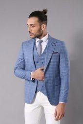 Kruvaze Mavi Çizgili Takım Elbise Wessi