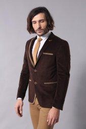 Tek Yakası Biyeli Kahverengi Velvet Ceket Wessi