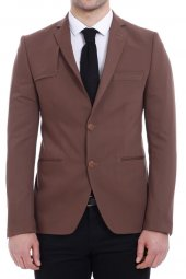 Omuz Parçalı Pamuk Kahverengi Ceket