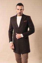 Geniş Yaka Diz Üstü Kahverengi Palto