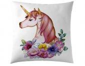 Unicorn Pembe Çiçek Kırlent