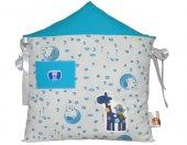 Mavi Ev Beşik Koruma Yastık