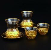 Fantasia Petek Gold,18 Parça Mırra Fincanlı,6lı Çay Bardak Takımı